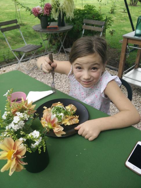 Consuelo enjoying her chilaquiles